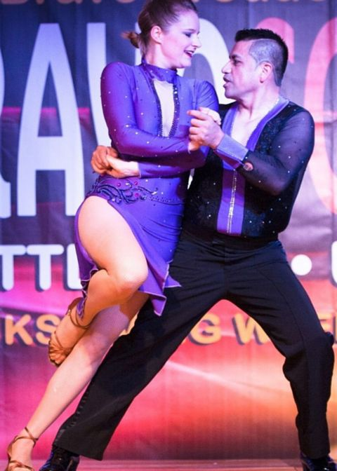 Purple Diamond salsa performance costume by Baila Designs