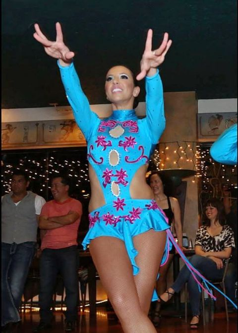 Blue Cherry salsa dance costume by Baila Designs