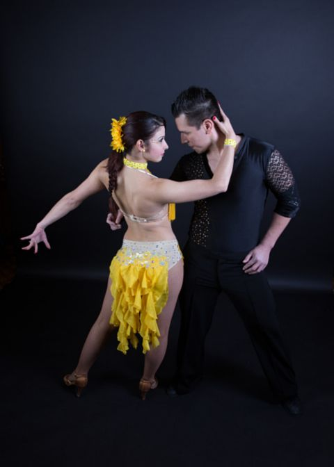 Dancing Canary custom salsa dress by Baila Designs