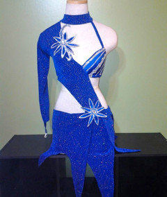 Custom designed blue velvet salsa dress by Baila Designs