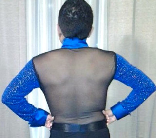 Mesh back of Blue Velvet Latin dance shirt by Baila Designs
