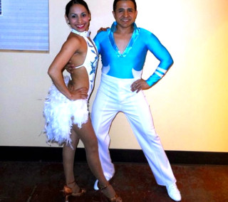 Custom Frost White and Teal Salsa Costume by Baila Designs
