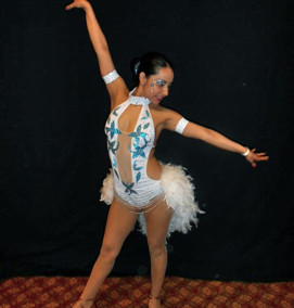 Custom Frost White & Teal Salsa Dress by Baila Designs